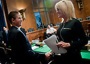 """Trevor Schaefer, youth ambassador and founder of Trevor's Trek Foundation, Erin Brockovich, president of Brockovich Research & Consulting testify before an Environment and Public Works Committee during a hearing on """"Oversight Hearing on Disease Clusters and Environmental Health."""""""