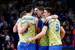 PARIS, FRANCE - SEPTEMBER 29: Dejan Vincic #9 of Slovenia reacts to a play with his teammates during the EuroVolley 2019 Final match between Serbia and Slovenia at AccorHotels Arena on September 29, 2019 in Paris, France.  Photo by Catherine Steenkeste / Sipa / Sportida