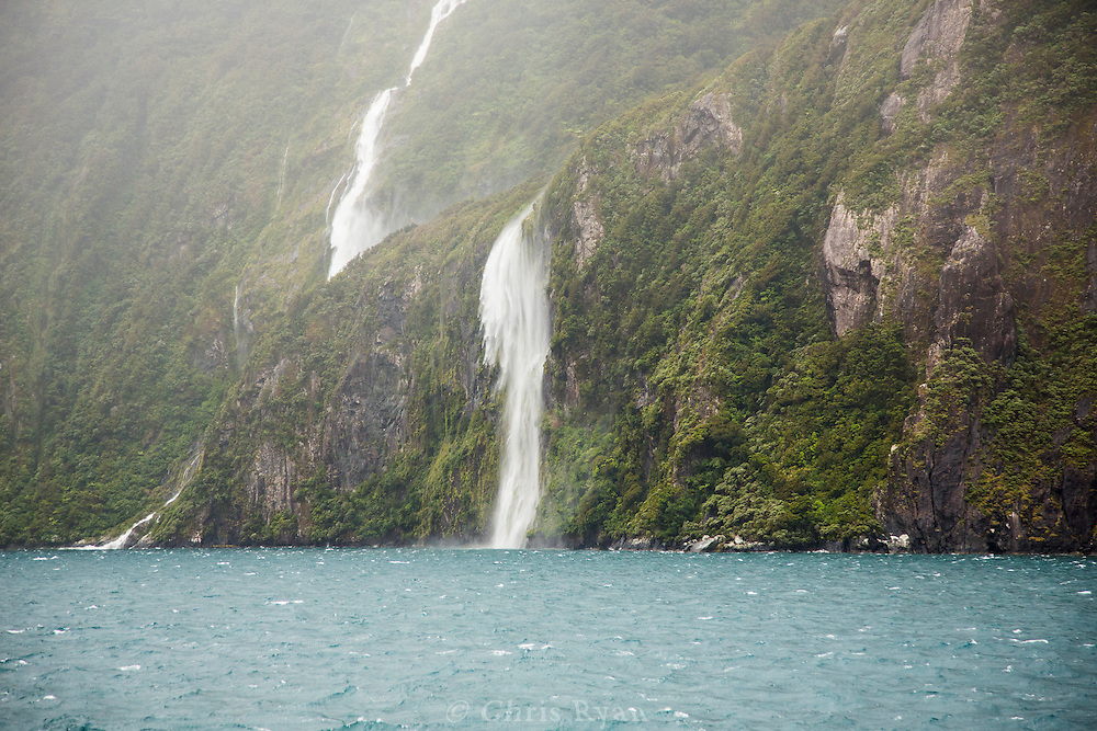 Waterfalls on Milford Sound, South Island, New Zealand