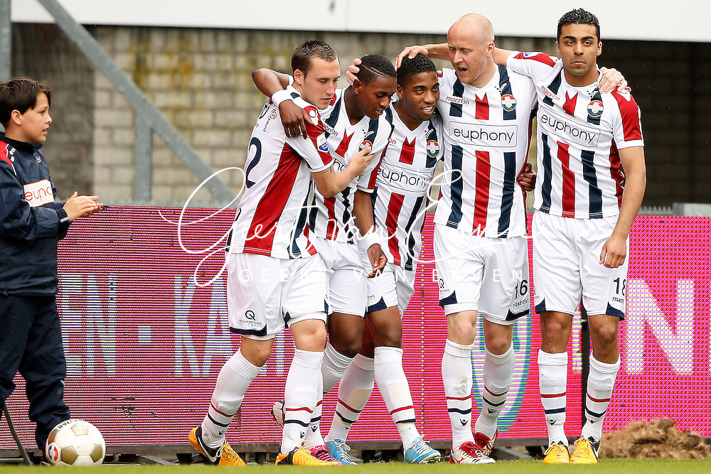 Onderwerp/Subject: Willem II - Eredivisie<br /> Reklame:  <br /> Club/Team/Country: <br /> Seizoen/Season: 2012/2013<br /> FOTO/PHOTO: Virgil MISIDJAN (L) of Willem II celebrating his goal with Ricardo IPPEL (LL) of Willem II and Genaro SNIJDERS (C) of Willem II and Danny GUIJT (R) of Willem II and Sofian AKOUILI (RR) of Willem II ( 1 - 0 ). (Photo by PICS UNITED)<br /> <br /> Trefwoorden/Keywords: <br /> #02 $94 &plusmn;1355244121349<br /> Photo- &amp; Copyrights &copy; PICS UNITED <br /> P.O. Box 7164 - 5605 BE  EINDHOVEN (THE NETHERLANDS) <br /> Phone +31 (0)40 296 28 00 <br /> Fax +31 (0) 40 248 47 43 <br /> http://www.pics-united.com <br /> e-mail : sales@pics-united.com (If you would like to raise any issues regarding any aspects of products / service of PICS UNITED) or <br /> e-mail : sales@pics-united.com   <br /> <br /> ATTENTIE: <br /> Publicatie ook bij aanbieding door derden is slechts toegestaan na verkregen toestemming van Pics United. <br /> VOLLEDIGE NAAMSVERMELDING IS VERPLICHT! (&copy; PICS UNITED/Naam Fotograaf, zie veld 4 van de bestandsinfo 'credits') <br /> ATTENTION:  <br /> &copy; Pics United. Reproduction/publication of this photo by any parties is only permitted after authorisation is sought and obtained from  PICS UNITED- THE NETHERLANDS
