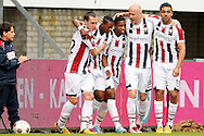 Onderwerp/Subject: Willem II - Eredivisie<br /> Reklame:  <br /> Club/Team/Country: <br /> Seizoen/Season: 2012/2013<br /> FOTO/PHOTO: Virgil MISIDJAN (L) of Willem II celebrating his goal with Ricardo IPPEL (LL) of Willem II and Genaro SNIJDERS (C) of Willem II and Danny GUIJT (R) of Willem II and Sofian AKOUILI (RR) of Willem II ( 1 - 0 ). (Photo by PICS UNITED)<br /> <br /> Trefwoorden/Keywords: <br /> #02 $94 ±1355244121349<br /> Photo- & Copyrights © PICS UNITED <br /> P.O. Box 7164 - 5605 BE  EINDHOVEN (THE NETHERLANDS) <br /> Phone +31 (0)40 296 28 00 <br /> Fax +31 (0) 40 248 47 43 <br /> http://www.pics-united.com <br /> e-mail : sales@pics-united.com (If you would like to raise any issues regarding any aspects of products / service of PICS UNITED) or <br /> e-mail : sales@pics-united.com   <br /> <br /> ATTENTIE: <br /> Publicatie ook bij aanbieding door derden is slechts toegestaan na verkregen toestemming van Pics United. <br /> VOLLEDIGE NAAMSVERMELDING IS VERPLICHT! (© PICS UNITED/Naam Fotograaf, zie veld 4 van de bestandsinfo 'credits') <br /> ATTENTION:  <br /> © Pics United. Reproduction/publication of this photo by any parties is only permitted after authorisation is sought and obtained from  PICS UNITED- THE NETHERLANDS