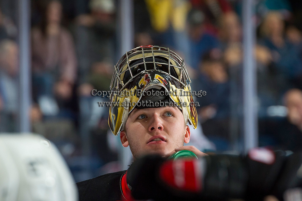 KELOWNA, CANADA - NOVEMBER 29: Isaiah DiLaura #33 of the Prince George Cougars stands at the bench during a time out against the Kelowna Rockets on November 29, 2017 at Prospera Place in Kelowna, British Columbia, Canada.  (Photo by Marissa Baecker/Shoot the Breeze)  *** Local Caption ***