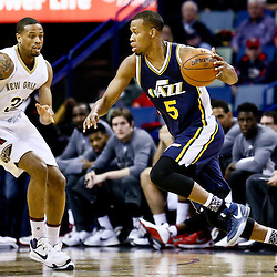 Feb 10, 2016; New Orleans, LA, USA; Utah Jazz guard Rodney Hood (5) drives past New Orleans Pelicans guard Bryce Dejean-Jones (31) during the first quarter of a game at the Smoothie King Center. Mandatory Credit: Derick E. Hingle-USA TODAY Sports
