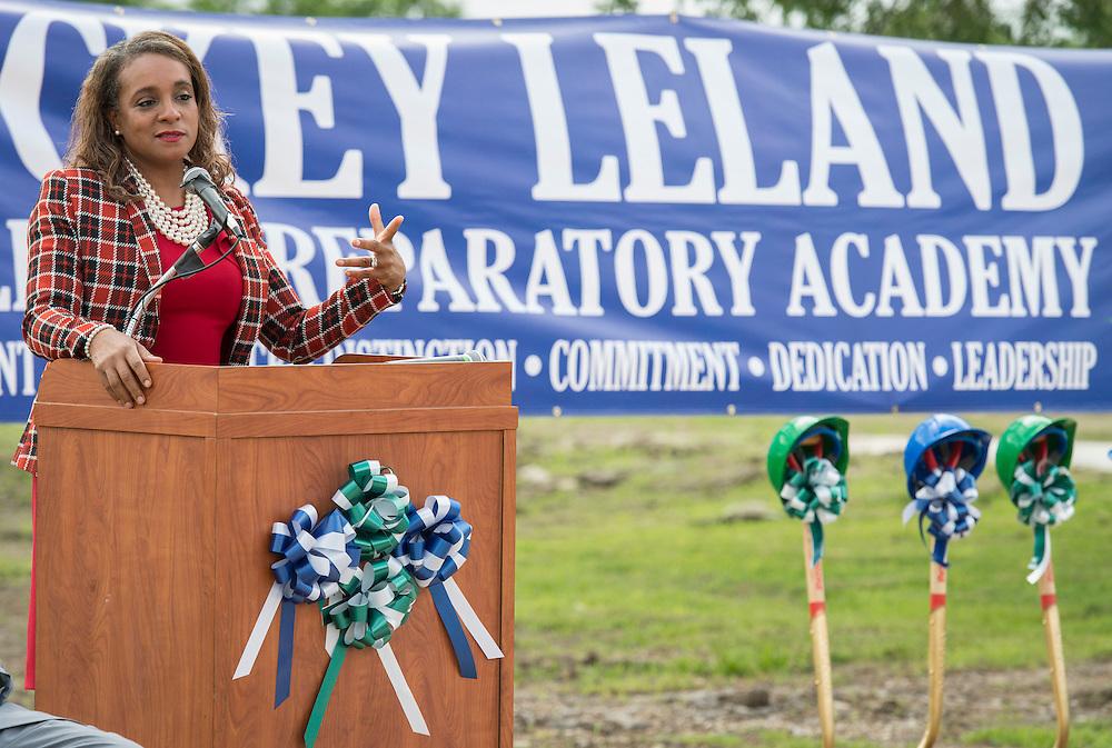 Houston ISD trustee Rhonda Skillern-Jones comments during groundbreaking ceremonies for the Mickey Leland College Preparatory Academy, April 16, 2015.