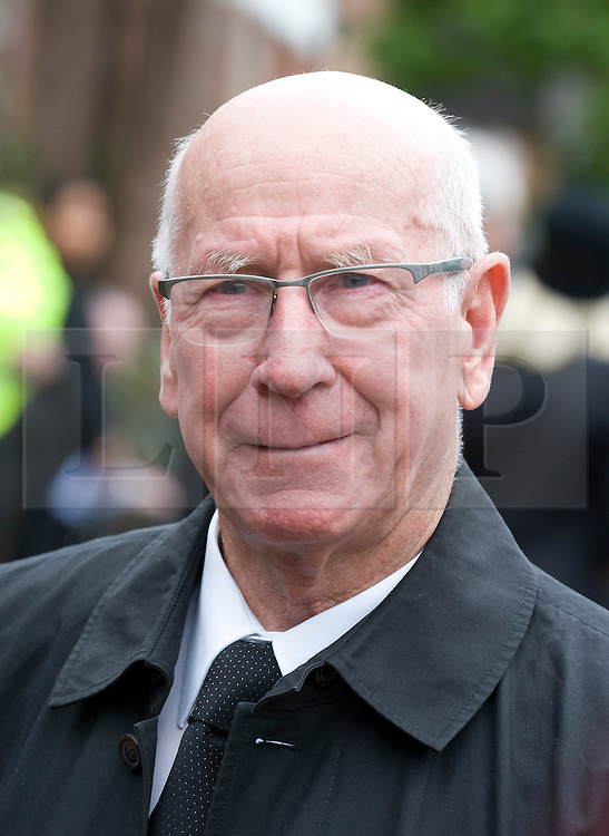 © licensed to London News Pictures. 18/05/2011. Tonbridge, UK. Sir Bobby Charlton at the funeral of heavyweight boxing legend Sir Henry Cooper at Corpus Christi Church in Lyons Crescent, Tonbridge, Kent today (18/05/2011).  Please see special instructions for usage rates. Photo credit should read Ben Cawthra/LNP