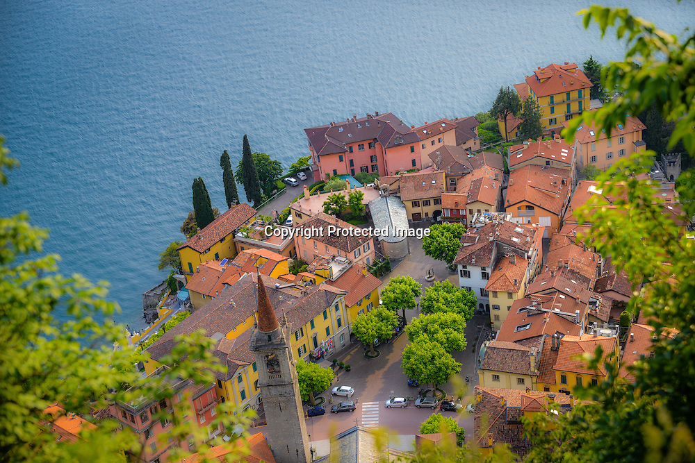 The village of Varenna seen from above, Como Lake, Italy
