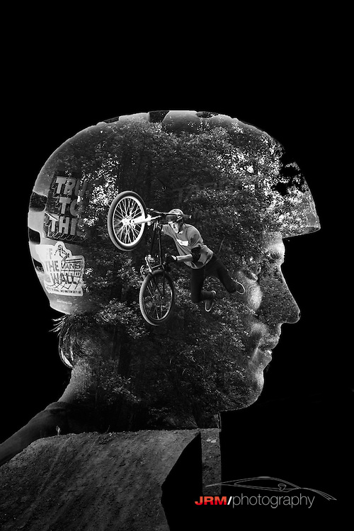 Double exposure of a freestyle bike rider.