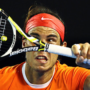 Rafael Nadal of Spain hits the ball during his quarterfinal match against Andy Murray of Great Britain at the Australian Open Tennis Tournament in Melbourne, Australia, 26 January 2010.
