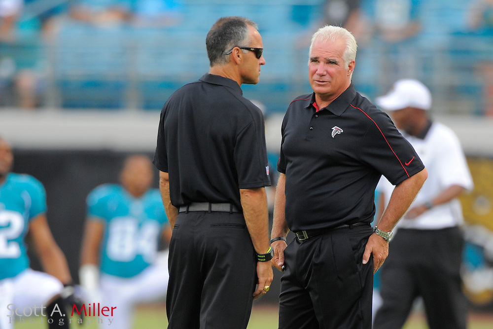 Atlanta Falcons head coach Mike Smith and defensive coordinator Mike Nolan during an NFL preseason game against the Jacksonville Jaguars at EverBank Field on August 30, 2012 in Jacksonville, Florida. ..©2012 Scott A. Miller..
