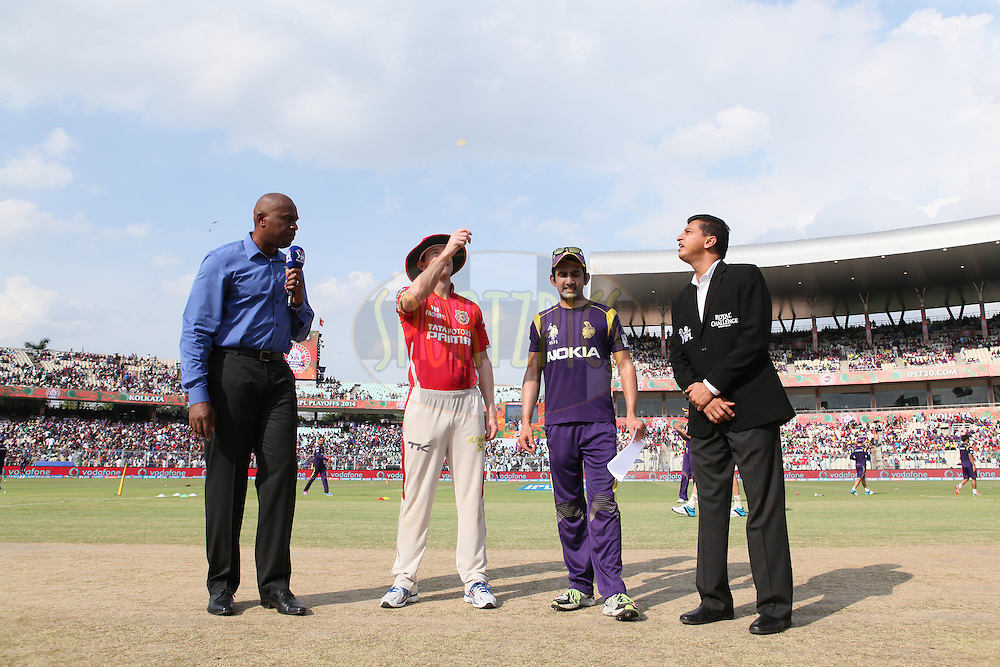 KXIP captain George Bailey and KKR captain Gautam Gambhir (R) with match reffery and tv commentator at toss during the first qualifier match (QF1) of the Pepsi Indian Premier League Season 2014 between the Kings XI Punjab and the Kolkata Knight Riders held at the Eden Gardens Cricket Stadium, Kolkata, India on the 28th May  2014<br /> <br /> Photo by Saikat Das / IPL / SPORTZPICS<br /> <br /> <br /> <br /> Image use subject to terms and conditions which can be found here:  http://sportzpics.photoshelter.com/gallery/Pepsi-IPL-Image-terms-and-conditions/G00004VW1IVJ.gB0/C0000TScjhBM6ikg