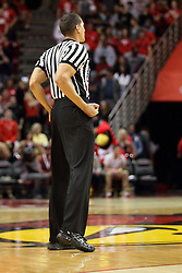 16 November 2015: Nate Green calls a player control foul. Illinois State Redbirds host the Morehead State Eagles at Redbird Arena in Normal Illinois (Photo by Alan Look)