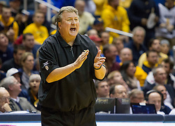 West Virginia Mountaineers head coach Bob Huggins calls out a play during the second half at the WVU Coliseum.