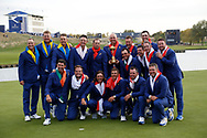 The victorious European Team after beating USA with the trophy after the winning presentation<br /> <br /> Captain Thomas Bjorn<br /> Francesco Molinari&nbsp;<br /> Tommy Fleetwood&nbsp;<br /> Tyrrell Hatton&nbsp;&nbsp;&nbsp;&nbsp;&nbsp;&nbsp;&nbsp;&nbsp;&nbsp;&nbsp;&nbsp;&nbsp;&nbsp;&nbsp;&nbsp;&nbsp;&nbsp; <br /> Paul Casey&nbsp;&nbsp;&nbsp;&nbsp;&nbsp;&nbsp;&nbsp;&nbsp;&nbsp;&nbsp;&nbsp;&nbsp;&nbsp;&nbsp;&nbsp;&nbsp;&nbsp;&nbsp;&nbsp; <br /> Thorbjorn Olesen&nbsp;&nbsp;&nbsp;&nbsp;&nbsp;&nbsp;&nbsp;&nbsp;&nbsp;&nbsp;&nbsp;<br /> Rory McIlroy&nbsp;&nbsp;&nbsp;&nbsp;&nbsp;<br /> Jon Rahm&nbsp;&nbsp;&nbsp;&nbsp;&nbsp;&nbsp;&nbsp;&nbsp;&nbsp;&nbsp;&nbsp;&nbsp;&nbsp;&nbsp;&nbsp;&nbsp;&nbsp;&nbsp;&nbsp;&nbsp;&nbsp;&nbsp;&nbsp;&nbsp; <br /> Justin Rose&nbsp;&nbsp;&nbsp;<br /> Alex Noren<br /> Henrik Stenson<br /> Sergio Garc&iacute;a<br /> Ian Poulter<br /> <br /> Sunday singles<br /> The 42nd Ryder Cup Matches 2018 on the Albatros Course of Le Golf National, Paris, France. 30th September 2018