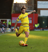 Nottingham Forest midfielder Henri Lansbury crossing the ball during the Sky Bet Championship match between Brentford and Nottingham Forest at Griffin Park, London, England on 21 November 2015. Photo by Matthew Redman.
