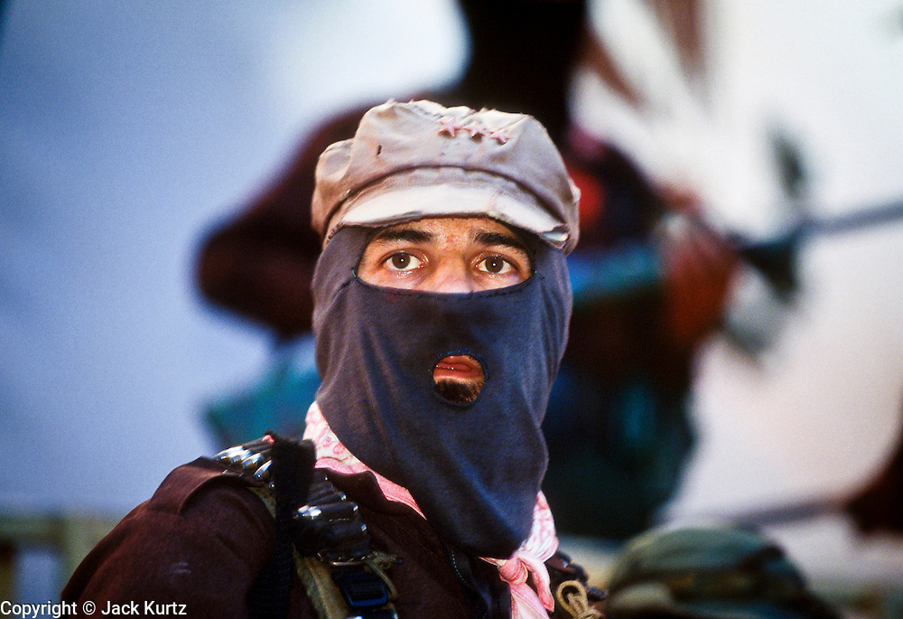 30 NOVEMBER 1994 - GUADALUPE TEPEYAC, CHIAPAS, MEXICO: Sub-Commandante Marcos, spokesman and leader of the Zapatista guerillas in Chiapas, Mexico, at the Zapatista's headquarters in the Lancodan rain forest in southern Mexico, Nov. 30, 1994. .PHOTO BY JACK KURTZ