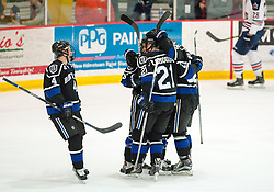 March 11 2016: Bentley Falcons forward Max French (16) is mobbed by teammates after scoring a goal during the first period in game one of the Atlantic Hockey quarterfinals series between the Bentley Falcons and the Robert Morris Colonials at the 84 Lumber Arena in Neville Island, Pennsylvania (Photo by Justin Berl)