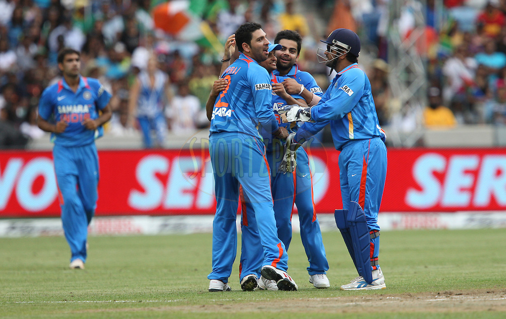 players celebrating  during the Pro20 match and the Celebrating 150 years of India in South Africa Concert between South Africa and India held at the Moses Mabhida Stadium in Durban on the 9 January 2011..Photo by Steve Haag/BCCI/SPORTZPICS