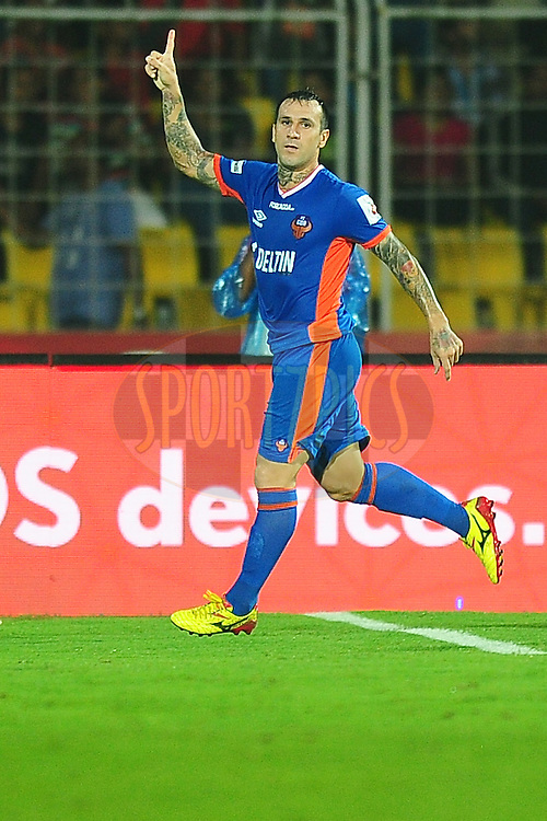 Rafael Coelho of FC Goa celebrates the goal during match 8 of the Indian Super League (ISL) season 3 between FC Goa and FC Pune City held at the Fatorda Stadium in Goa, India on the 8th October 2016.<br /> <br /> Photo by Faheem Hussain / ISL/ SPORTZPICS