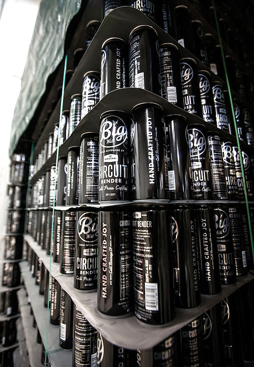 Stacks of cans sit waiting to be filled with Big Watt cold press coffee at Burning Brothers Brewing in St. Paul December 15, 2015.  After much trial and error, Big Watt Cold Beverage Co. has created a process by which it is able to can coffee free of preservatives that is shelf stable for 16 months without cold storage.