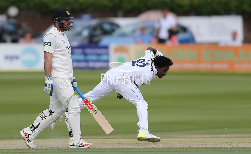 Fidel Edwards bowling during the LV County Championship Div 1 match between Sussex County Cricket Club and Hampshire County Cricket Club at the BrightonandHoveJobs.com County Ground, Hove, United Kingdom on 8 June 2015.