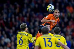10-10-2017 NED: WK kwalificatie Nederland - Zweden, Amsterdam<br /> Oranje heeft Zweden met 2-0 verslagen. Het moest met zeven doelpunten verschil halen om nog kans te maken op plaatsing voor het WK. / Bas Dost #21 of Netherlands