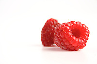Studio shot of red raspberries