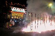 Lion dancers perform at the Thien Hau temple <br /> on the first day of Chinese Lunar New Year in Los Angeles, Feb 16, 2018. (Photo by Ringo Chiu)<br /> <br /> Usage Notes: This content is intended for editorial use only. For other uses, additional clearances may be required.
