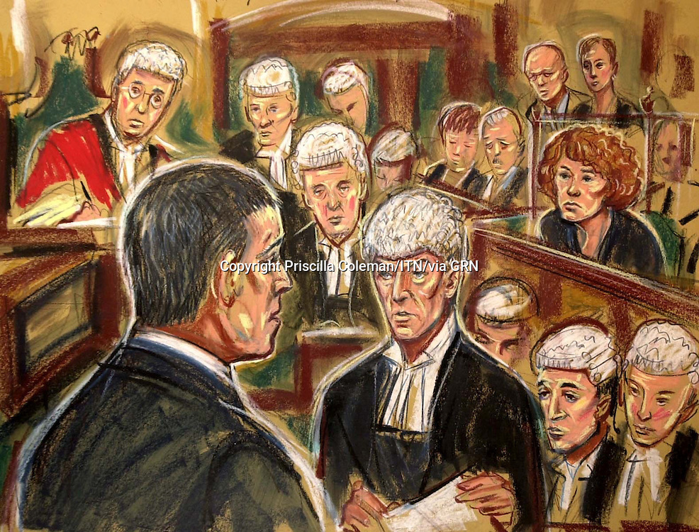 ©PRISCILLA COLEMAN ITV NEWS. 02.12.03.SUPPLIED BY: PHOTONEWS SERVICE LTD OLD BAILEY.ARTWORK SHOWS: COURT 1 AT THE OLD BAILEY. IAN HUNTLEY (LEFT) IN THE WITNESS BOX, BEING QUESTIONED BY RICHARD LATHAM QC. MAXINE CARR IS LOOKING ON FROM THE DOCK..ILLUSTRATION: PRISCILLA COLEMAN ITV NEWS