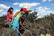 Pamela Pelletier, (right), leads students from Drachman Elementary School on a cactus count at the Desert Laboratory at Tumamoc Hill at the University of Arizona, Tucson, Arizona, USA.