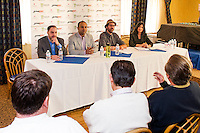 Kyle Osolin and Aatish Patel from Ticket Galaxy and Todd Anrend and Laurie DiGiovanni from MusicFest announce LaconiaFest 2016 answer questions from Motorcycle Week Association Executive Director Charlie St.Clair during a press conference held at the Naswa Resort on Wednesday morning.   (Karen Bobotas/for the Laconia Daily Sun)
