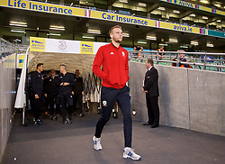 DUBLIN, IRELAND - Tuesday, October 16, 2018: Wales' Chris Gunter arrives before the UEFA Nations League Group Stage League B Group 4 match between Republic of Ireland and Wales at the Aviva Stadium. (Pic by David Rawcliffe/Propaganda)