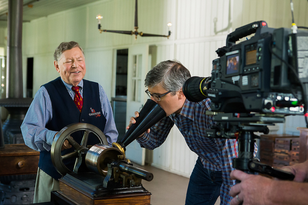Mo Rocca learning how to operate Thomas Edison's Tinfoil Phonograph during a filming on The Henry Ford's Innovation.  Photographed by Set Photographer Kristina Sikora