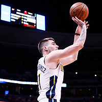 01 April 2018: Denver Nuggets forward Juan Hernangomez (41) takes a jump shot during the Denver Nuggets 128-125 victory over the Milwaukee Bucks, at the Pepsi Center, Denver, Colorado, USA.
