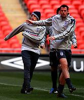 Photo: Alan Crowhurst.<br />England training session at Wembley Stadium. 21/03/2007. Jamie Carragher and Wayne Rooney warm up.