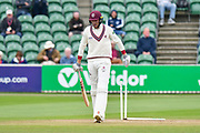 Wicket - Craig Overton of Somerset walks back to the pavilion after being dismissed by Ravi Patel of Middlesex during the Specsavers County Champ Div 1 match between Somerset County Cricket Club and Middlesex County Cricket Club at the Cooper Associates County Ground, Taunton, United Kingdom on 27 September 2017. Photo by Graham Hunt.