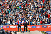 BMX Finals, Kyle Evans (Great Britain), Kye Whyte (Great Britain) during the Cycling European Championships Glasgow 2018, at Glasgow BMX Centre, in Glasgow, Great Britain, Day 9, on August 10, 2018 - Photo luca Bettini / BettiniPhoto / ProSportsImages / DPPI<br /> - Restriction / Netherlands out, Belgium out, Spain out, Italy out -