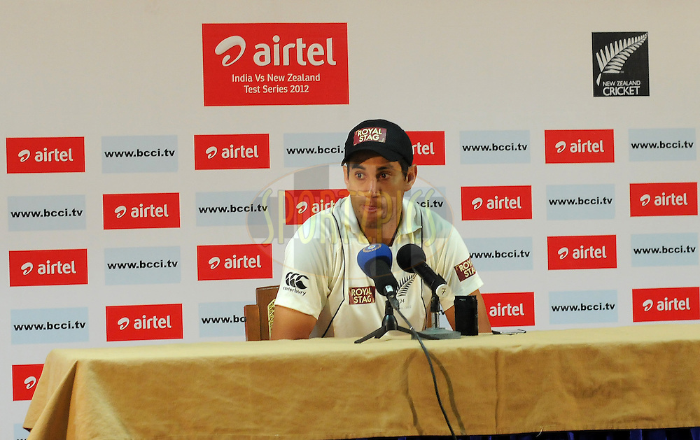 Ross Taylor captain of New Zealand addresses a press conference after the match on day four of the second test match between India and New Zealand held at the M. Chinnaswamy Stadium, Bengaluru on the 3rd September 2012..Photo by Pal Pillai/BCCI/SPORTZPICS