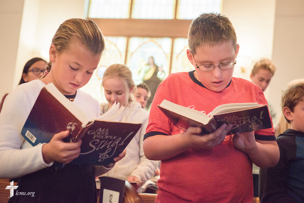 Students sing during chapel on Friday, Oct. 28, 2016, at First Immanuel Lutheran School in Cedarburg, Wis. LCMS Communications/Erik M. Lunsford