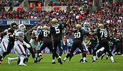 Jacksonville Jaguars Blake Bortles trying to make a pass during the Buffalo Bills v Jacksonville Jaguars NFL International Series match at Wembley Stadium, London, England on 25 October 2015. Photo by Matthew Redman.