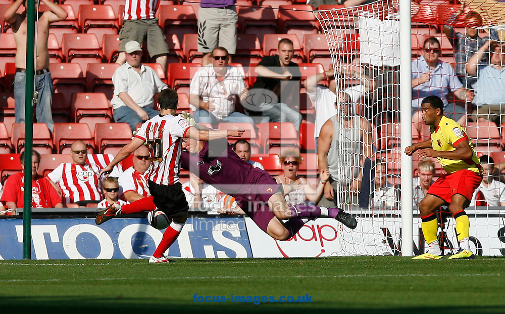 Picture by Daniel Chesterton/Focus Images Ltd. 07966 018899.1/10/11.Rene Gilmartin of Watford saves from Adam Lallana of Southampton during the Npower Championship match at St Mary's stadium, Southampton.