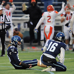 TOM KELLY IV &mdash; DAILY TIMES<br /> Villanova kicker Chris Gough (35) misses a field goal in the final seconds of the game and looks up after being knocked down during the Sam Houston State University at Villanova University NCAA FCS Division 1 - AA quarterfinal game at Villanova Stadium.
