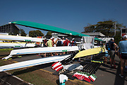 "Rio de Janeiro. BRAZIL.   Busy Boating Area. 2016 Olympic Rowing Regatta. Lagoa Stadium,<br /> Copacabana,  ""Olympic Summer Games""<br /> Rodrigo de Freitas Lagoon, Lagoa. Local Time 15:08:45   Friday  05/08/2016 <br /> <br /> [Mandatory Credit; Peter SPURRIER/Intersport Images]"