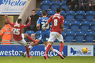 Jacob Murphy of Coventry City scores his sides first goal to make the scoreline 1-1 during the Sky Bet League 1 match between Colchester United and Coventry City at the Weston Homes Community Stadium, Colchester<br /> Picture by Richard Blaxall/Focus Images Ltd +44 7853 364624<br /> 14/11/2015