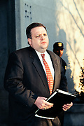 Tim Keating, former Chief of Staff in the White House Office of Legislative Affairs, departs the Federal Courthouse following testimony at the Starr Grand Jury investigating the Monica Lewinsky affair February 25, 1998 in Washington, DC. Keating hired Lewinsky for a paying job in the Office of Legislative Affairs after her White House internship, and later transferred her to the Pentagon.