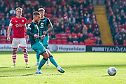 Swansea City midfielder Matt Grimes (8) passes the ball during the EFL Sky Bet Championship match between Barnsley and Swansea City at Oakwell, Barnsley, England on 19 October 2019.