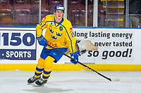 KELOWNA, BC - DECEMBER 18:  Oskar Bäck #15 of Team Sweden warms up against the Team Russia at Prospera Place on December 18, 2018 in Kelowna, Canada. (Photo by Marissa Baecker/Getty Images)***Local Caption***