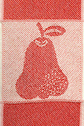close up of woven fabric with pear design