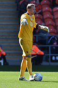 Blackpool Goalkeeper, Ryan Allsop (26) during the EFL Sky Bet League 1 match between Blackpool and Oldham Athletic at Bloomfield Road, Blackpool, England on 26 August 2017. Photo by Mark Pollitt.