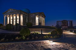 Night view of The Collective centre for contemporary arts at the former City Observatory on Calton Hill, Edinburgh, Scotland UK