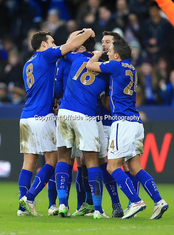 3 January 2015 - The FA Cup 3rd Round - Leicester City v Newcastle United - Leicester City players celebrate the winning goal from Leonardo Ulloa - Photo: Marc Atkins / Offside.